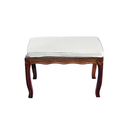 Puff Estilo com Assento em Sarja Branca 0,75 x 0,50 x 0,49h