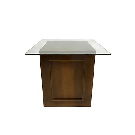 Cubo para bolo em madeira 0,60 x 0,60 x 0,78h (Tampo de vidro 0,84 x 0,84)