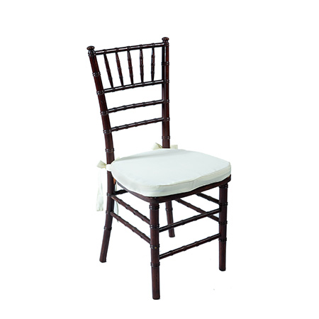 Cadeira Paris Mahogany com Assento em Sarja Branca 0,40 x 0,40 x 0,90h