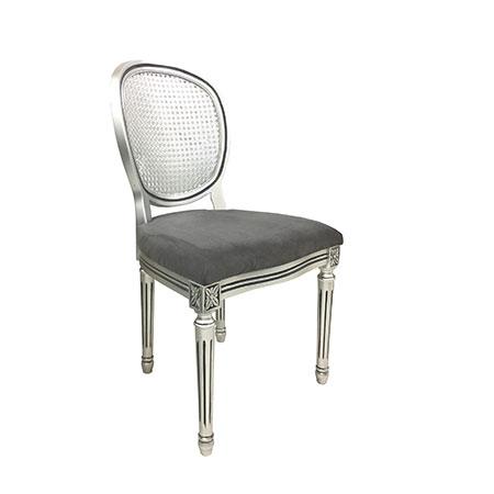 Cadeira Medalhão Prata com Assento no Suede Cinza 0,49 x 0,48 x 0,93h