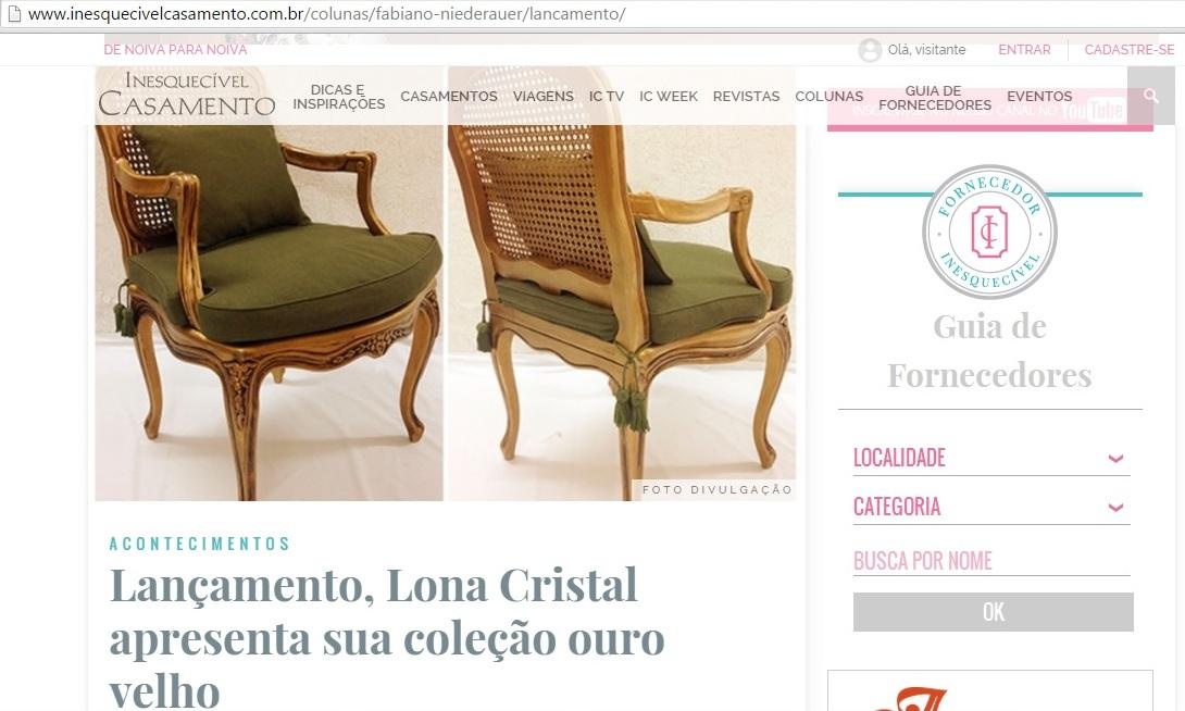 Matérias Lona Cristal no site da Inesquecível Casamento (1)