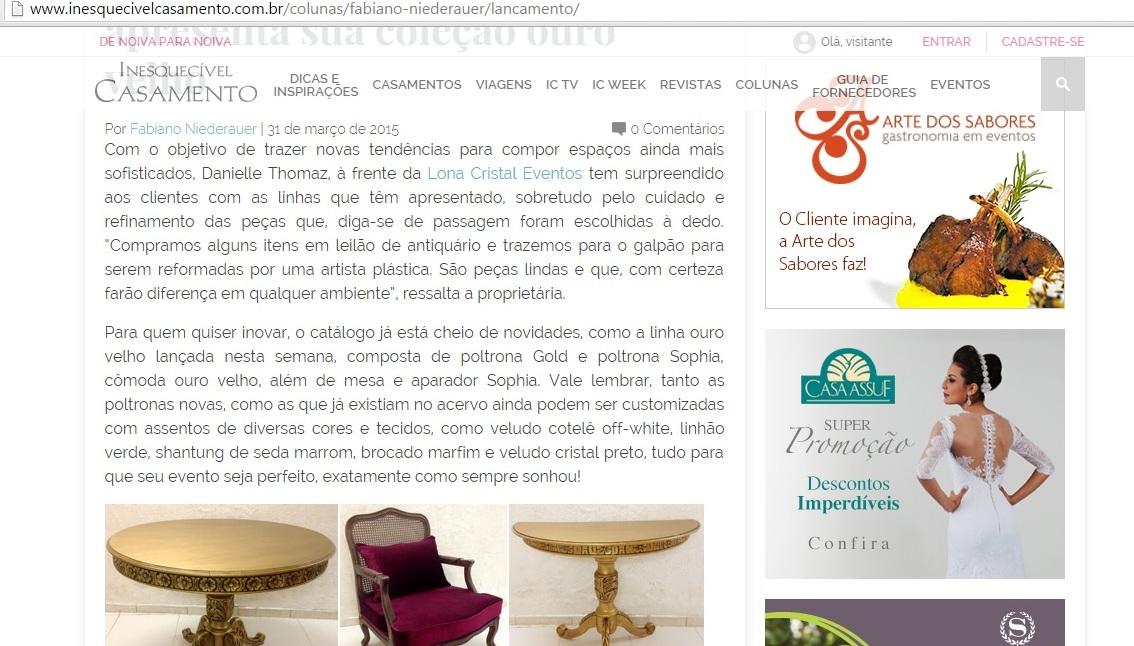 Matérias Lona Cristal no site da Inesquecível Casamento (2)