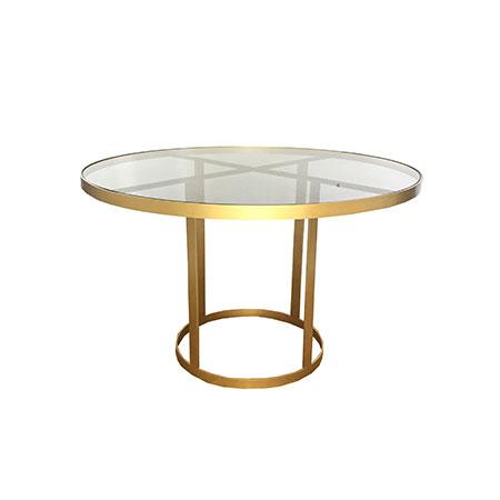 Mesa Ágata Dourada com Tampo em Vidro Fumê 1,00 de diâmetro x 0,76h