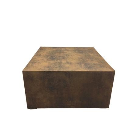 Mesa de centro quadrada forrada no tecido aço corten 0,90 x 0,90 x 0,45h
