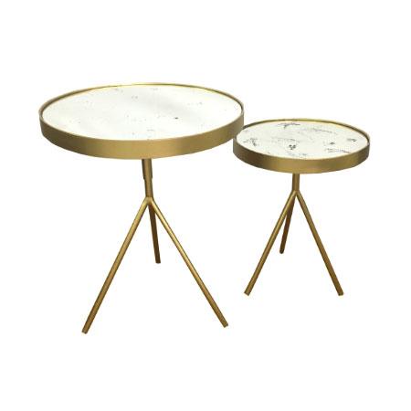 Mesa Double Modern Dourada com Tampo em Espelho Chamuscado - P e G