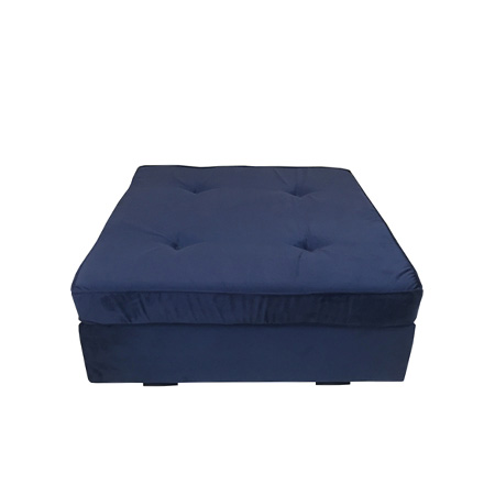 Puff Futon em veludo azul marinho 80 x 80 x 0,44h
