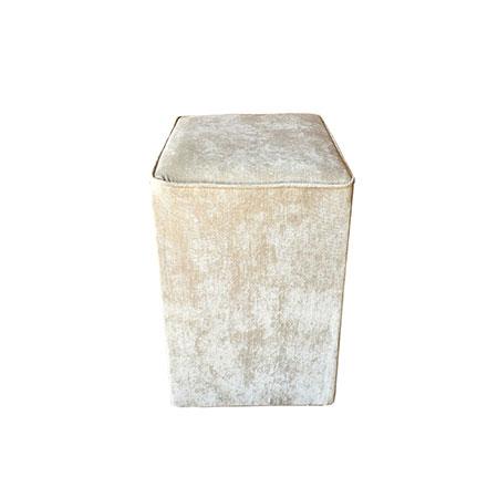 Puff Quadrado no Suede Bege 0,40 x 0,40 x 0,45h