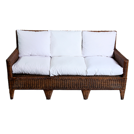 Sofá Angra 3 Lugares com Assento em Sarja Branca 1,63 x 0,65 x 0,85h