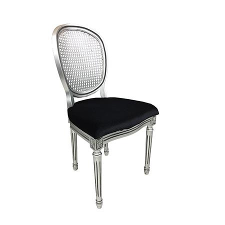Cadeira Medalhão Prata com Assento no Veludo Preto 0,49 x 0,48 x 0,93h