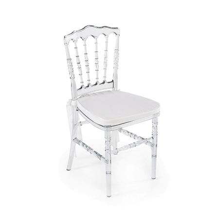 Cadeira Dior Cristal com Assento em Sarja Branca 0,38 x 0,40 x 0,88h