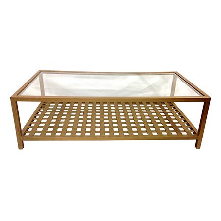 Mesa de Centro Gold com Tampo de Vidro 1,40 x 0,70 x 0,45h