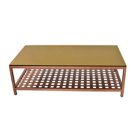 Mesa de Centro Gold com Tampo de Vidro em Insulfilm Dourado 1,40 x 0,70 x 0,45h