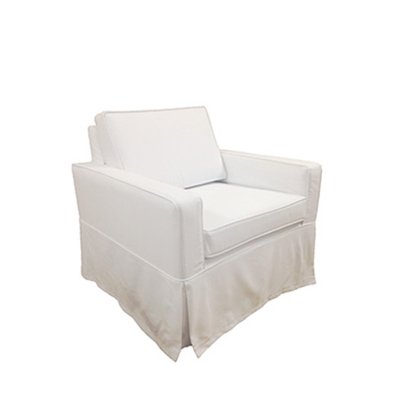 Poltrona Madri em Sarja Branca 0,74 x 0,75 x 0,80h
