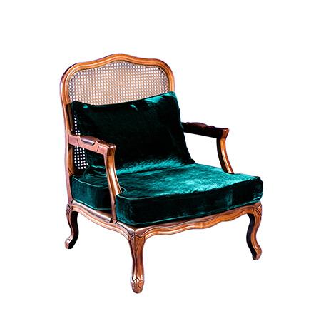 Poltrona Valentina com Assento no Veludo Cristal Verde Musgo 0,76 x 0,75 x 1,00h