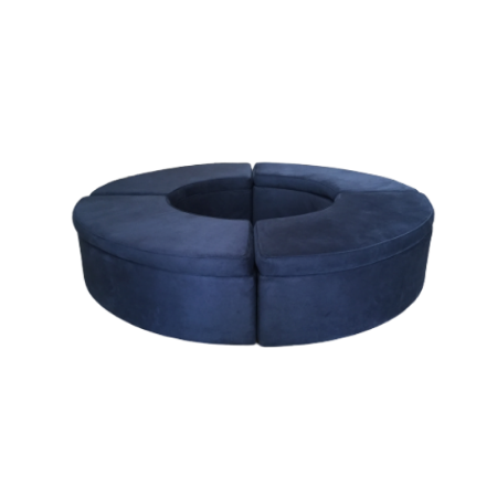 Banco 4/4 de Lua no Veludo Azul Marinho 2,45 Diam x 0,52h